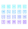 safe vault security simple line icons set vector image