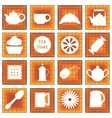 Set of 16 icons Tea time In square vector image vector image