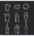 Set of different hand drawn beverages on the vector image vector image