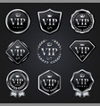 set silver vip badge label vector image vector image