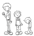 simple black and white little boy grow vector image vector image