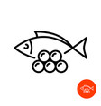 simple fish silhouette with caviar line icon vector image