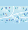 ski resort with skiers mountain skiing map style vector image