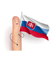 slovakia flag hold by finger vector image vector image