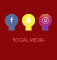 social media icons facebook icon and instagram vector image vector image