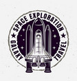 space exploration emblem with spaceship vector image vector image