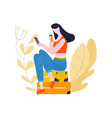 tourist girl sitting on baggage in airportmaking vector image vector image