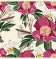 watercolor seamless pattern with peonies flowers vector image vector image
