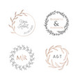 wedding wreaths laurels logos luxury monogram vector image