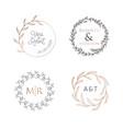 wedding wreaths laurels logos luxury monogram vector image vector image