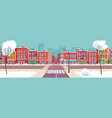 winter city street snowy urban landscape vector image vector image