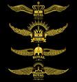 golden wing crown royal logo vector image