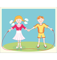 happy smiling children jumping rope vector image