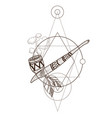 smoking pipe of peace traditions of the north vector image