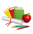 3d school supplies vector image vector image