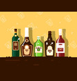 alcohol bottle set brandy and wine vector image vector image