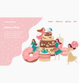 Bakery shop landing page with baked goods cakes