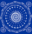 blue tile with white circle spiral decor vector image vector image