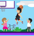 boy play basketball character design cartoon art vector image vector image