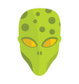 cartoon flat alien head isolated on white vector image vector image