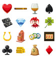 casino icons set symbols cartoon style vector image vector image