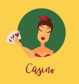 casino promotional poster with female client who vector image vector image