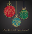 christmas ball card handmade postcard to new year vector image vector image