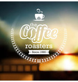 Coffee label design over blurred background vector image vector image