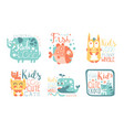 collection kids logo design templates with cute vector image