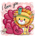 cute cartoon tribal lion with hearts vector image vector image