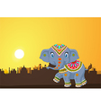 Cute elephant mascot wearing traditional costume vector image vector image
