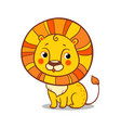 cute lion sits on a white background vector image vector image