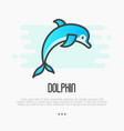 dolphin jumping above waves in thin line style vector image