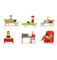 flat set of people with computers young vector image vector image
