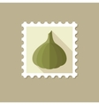 Garlic flat stamp with long shadow vector image vector image