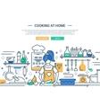 Girl cooking at home - line design website banner vector image vector image