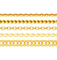 gold chains seamless borders set realistic vector image