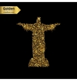 Gold glitter icon of statue isolated on