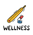 hand draw doodle wellness medical thermometer vector image
