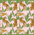 hand drawn tiger seamless pattern big cats vector image vector image
