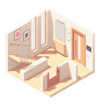 isometric hallway with wooden staircase vector image vector image
