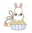 kawaii of a cute rabbit on the sweet cupcake vector image