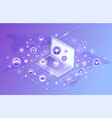 laptop social network violet vector image
