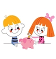 little boy and girl with piggy bank Childrens vector image vector image
