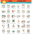 media advertising flat line icon set vector image