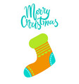 merry christmas greeting card with knitted sock vector image vector image