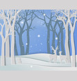 merry christmas with deer family in winter season vector image