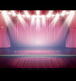 open red curtains with seats and neon spotlights vector image vector image