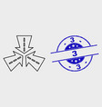 outline triple roads intersection icon and vector image vector image