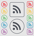 RSS feed icon sign symbol on the Round and square vector image